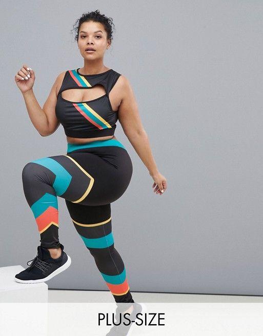 186a76d2bc South Beach Plus Gym Leggings In Rainbow Stripe in 2019 | Plus Size Workout  Gear | Gym wear for women, Gym clothes women, Gym leggings