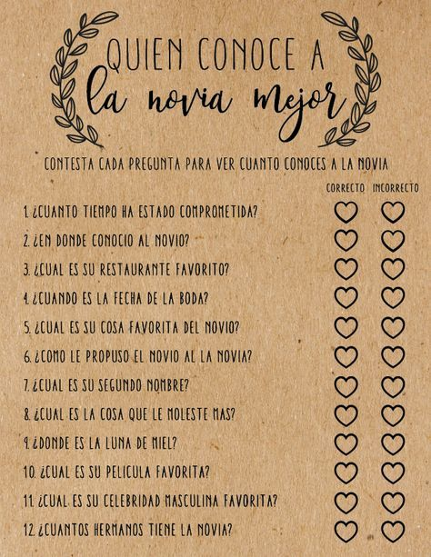 Quien Conoce a La Novia Mejor . Who Knows the Bride Best . Spanish . Despedida . Despedida de Soltera . Bridal Shower Games . Bridal Shower