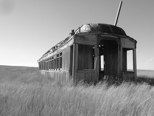Abandoned train car in field                                                                                                                                                     More