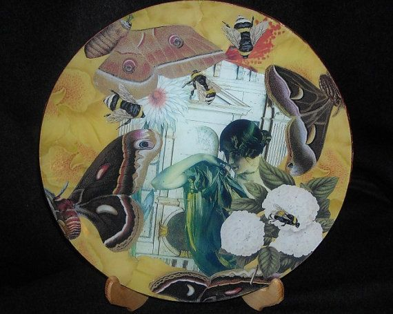 Round glass plate decorated with decoupage by ArtCollagebyFiona, $61.65
