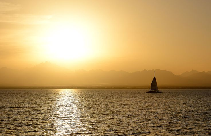 The beautiful sunset by the beach of Four Seasons Sharm El Shiekh