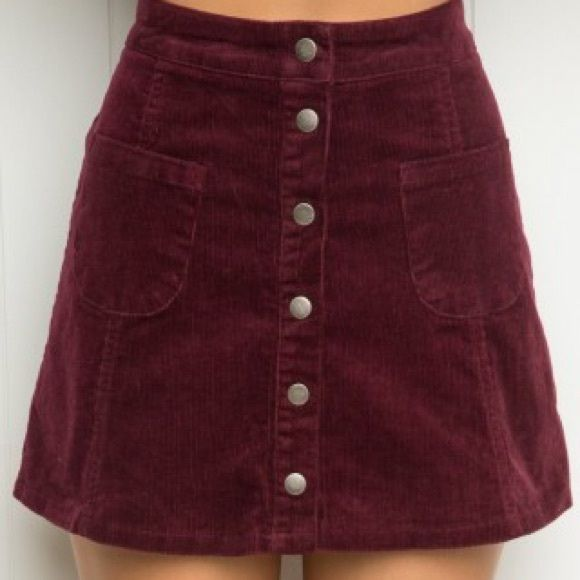 Brandy Melville Maroon Corduroy Button Up Skirt soft maroon corduroy / silver buttons & pocket details on front / size medium Brandy Melville Skirts Mini