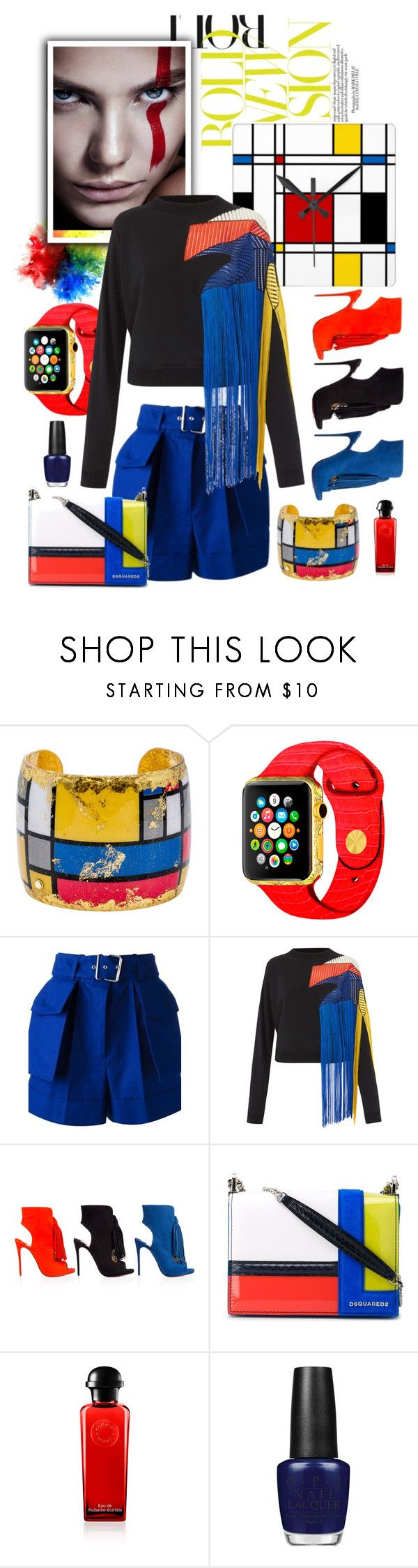 """""""Mondrian Does Fringe"""" by felicia-mcdonnell ❤ liked on Polyvore featuring Karen Millen, Évocateur, Alexander McQueen, Christopher Kane, Christian Louboutin, Dsquared2 and OPI"""