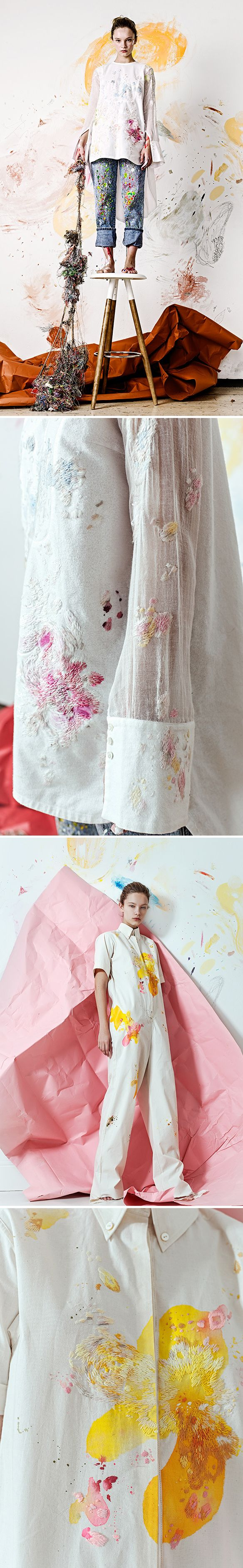 Set Design, Crushed paper mimics texture of ruffled garments.
