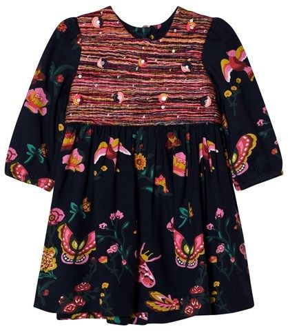 Billieblush Navy Floral and Butterfly Print Dress