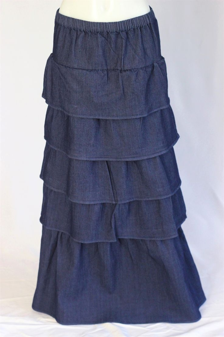 dilat tiered layered jean skirt sizes 2 12