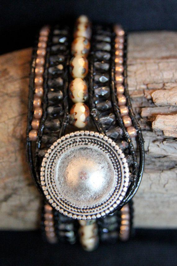 Beaded Five Row Leather Cuff Bracelet