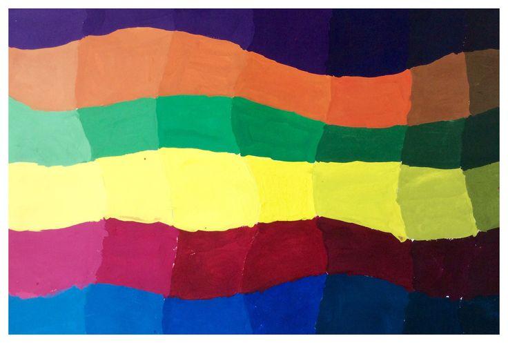Kleuren mengen, primair en secundair.  Van verzadigd naar onverzadigd, verhelderen en verdonkeren.