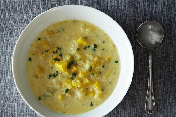 Tarragon and lemon pair perfectly with yellow squash, and some fresh-snipped chives round this out. You can serve this hot or cold and omit the dairy, if you wish. It's really a perfect summer soup!