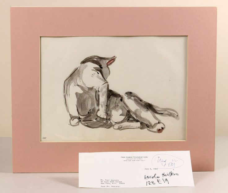 c1983 | LINCOLN KIRSTEIN | ORIGINAL watercolour sketch of CAT cleaning itself | eBay
