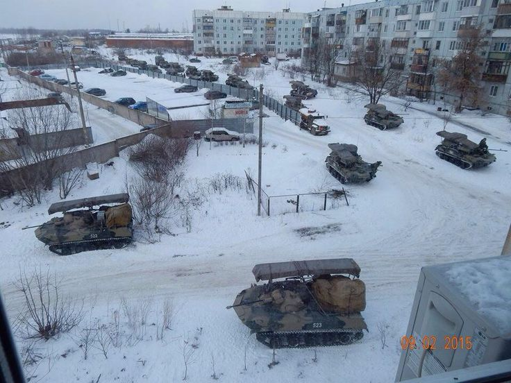 """Russian war machine using a residential area as cover in Luhansk HT """"@belpartisan """" #Ukraine"""