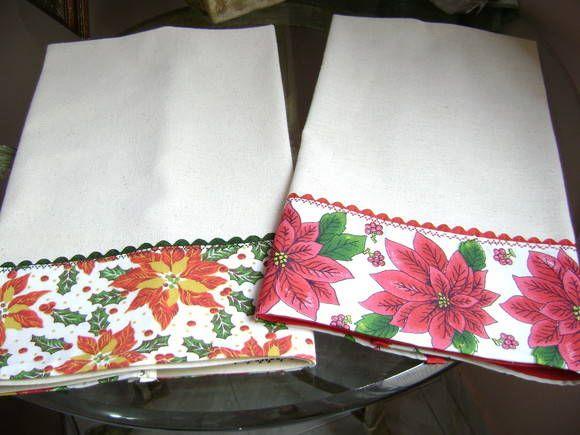 panos de prato com barrados de tecidos de natal