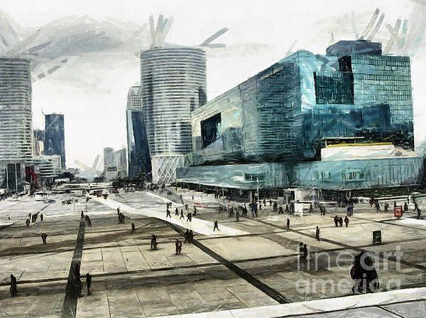 La Defense -PARIS is Europe's largest purpose-built business district. Around its Grande Arche and esplanade, Drawing by Daliana Pacuraru