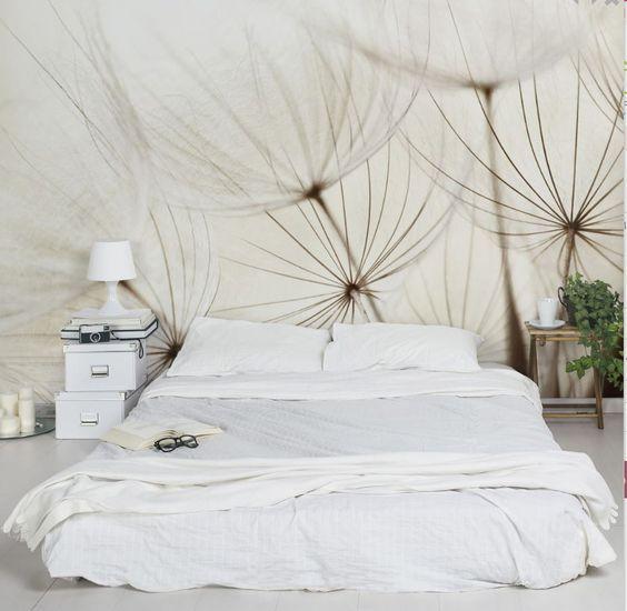 Made in Berlin | #Puristisch und zugleich romantisch: #Blumentapeten fürs #Schlafzimmer #Wohnzimmer - #puristisch & zugleich romantisch #Pusteblumen #Pusteblume #gräser