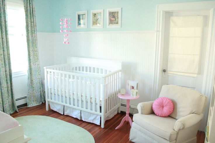 Love the wainscoting + aqua paint in this fresh #nursery!