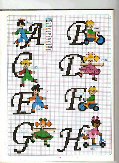 Kids alphabet A-H pattern