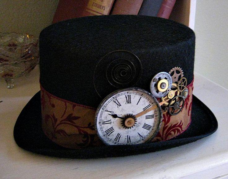 Steam Punk hats   Steampunk BLACK top hat antique pocket watch Gears cuckoo clock velvet ...