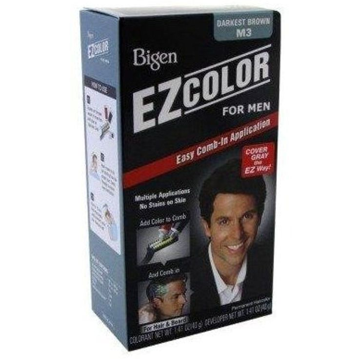 Bigen EZCOLOR Mens Darkest Brown Hair Dye for Hair or Beard (3-PACK), Easy Comb-In Application, No Ammonia, Low Peroxide and No Stains to Your Skin, With Aloe Extract and Olive Oil for Extra Smooth Hair, Multiple Application -- Click image to review more details. (This is an affiliate link and I receive a commission for the sales)