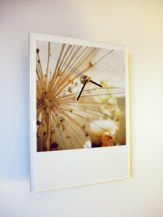 Polaroid Photo Ceramic Clock  Onion Bloom  Unique by jerseymaids, $55.00