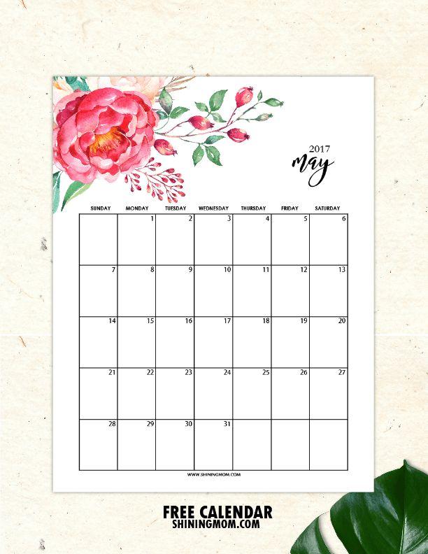 Free Printable May 2017 Calendar: 12 Awesome Designs!