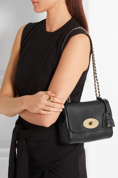 Black textured-leather (Goat) Postman's lock-fastening front flap
