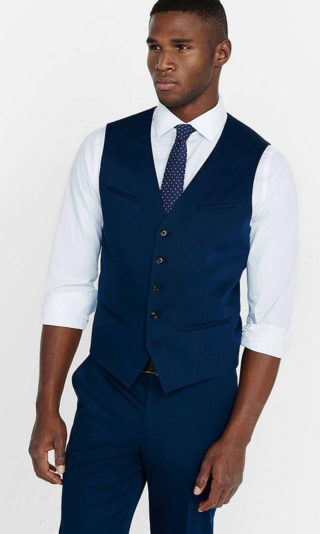 Cotton Sateen Navy Blue Vest from EXPRESS