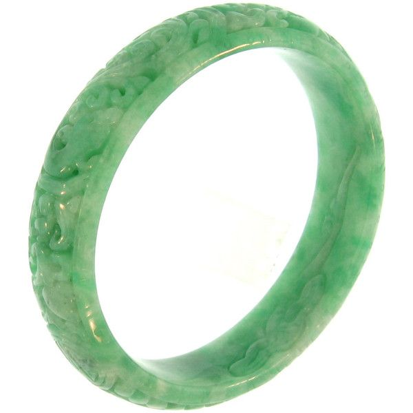 One-Piece Half-Round Carved Green Jadeite Jade Bangle Bracelet... ($3,400) ❤ liked on Polyvore featuring jewelry, bracelets, hinged bracelet, jade bangle, jade bangle bracelet, green bangle bracelet and green jade jewelry