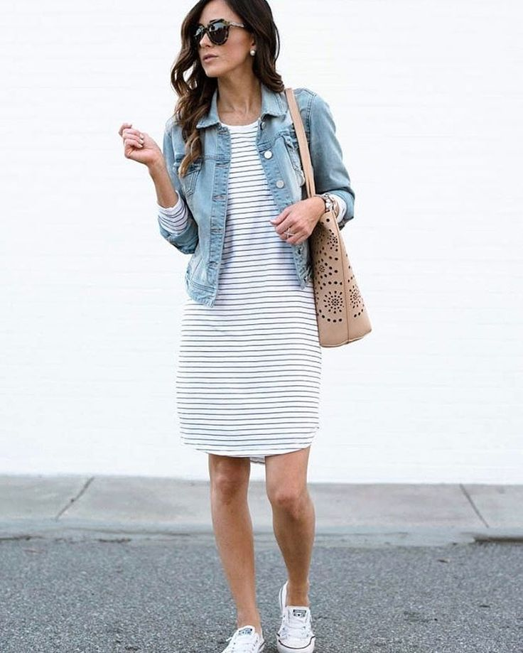 FINALLY, a long-enough striped t-shirt dress!! (Plus, I love her denim jacket. And her shoes. And of course her bag. So, basically everything.)