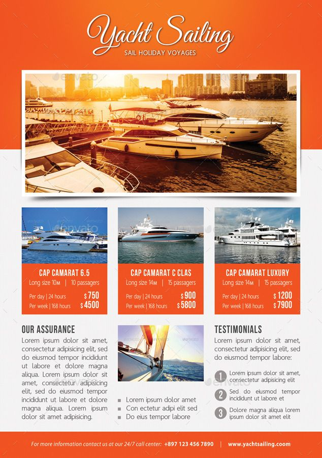 3 In 1 Sailing Yacht Travel Flyers Bundle V02