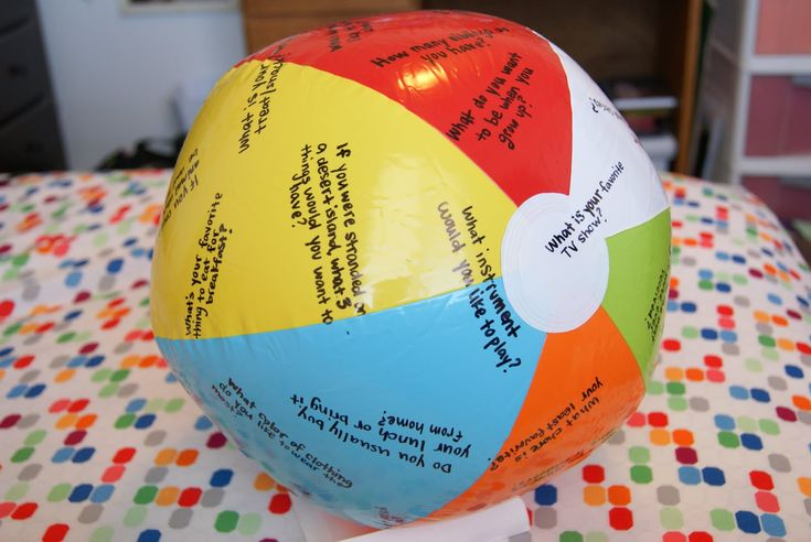 Beach Ball Questions Game-I made this when I worked as a Recreational Therapist at a Psych Hospital and used this with my patients to get them to talk more and interact with the group. @Sonia S Le Blanc