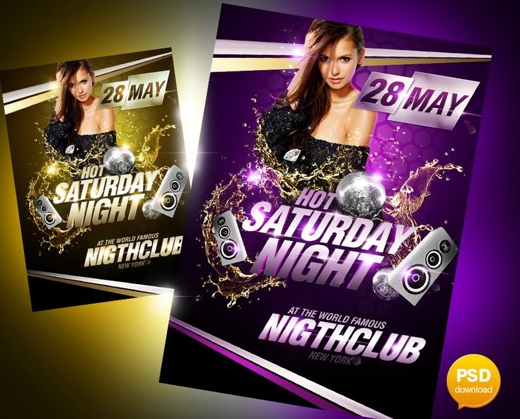 Hot Saturday Night Party Flyer PSD Template Projects to Try - party flyer