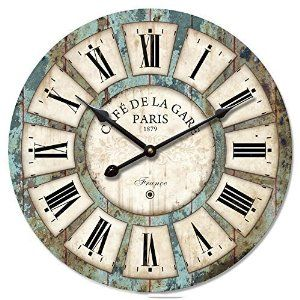16-inch Vintage Wood Clock, Eruner French Country Cafe De La Gare Retro Style Non-Ticking Wooden Wall Clock (#03). http://www.amazon.com/gp/product/B012ZD4FVO/ref=as_li_tl?ie=UTF8&camp=1789&creative=9325&creativeASIN=B012ZD4FVO&linkCode=as2&tag=pinrusticclocks1-20&linkId=5YUOLO3CT5JGT74L