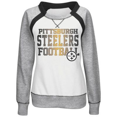 Pittsburgh Steelers Majestic Women's Counter IV Crew Fleece Sweatshirt - White/Gray