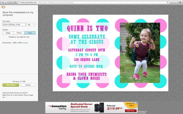 DIY Photo Invitations Using PicMonkey {A Tutorial} - Wine & Glue  a nice tutorial on how to make photo invitations. I ended up doing it on my own in picmonkey for V's invites but this is a good walk through.