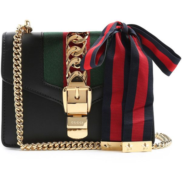 Gucci Sylvie leather cross-body bag (94.720 RUB) ❤ liked on Polyvore featuring bags, handbags, shoulder bags, leather cross body purse, gucci, leather handbags, gucci purses and leather crossbody handbags