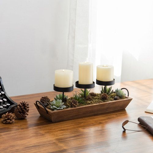 3 Pillar Candle Holder With Rustic Wood Tray Rustic Candle Pillars Pillar Candles Pillar Candle Holders