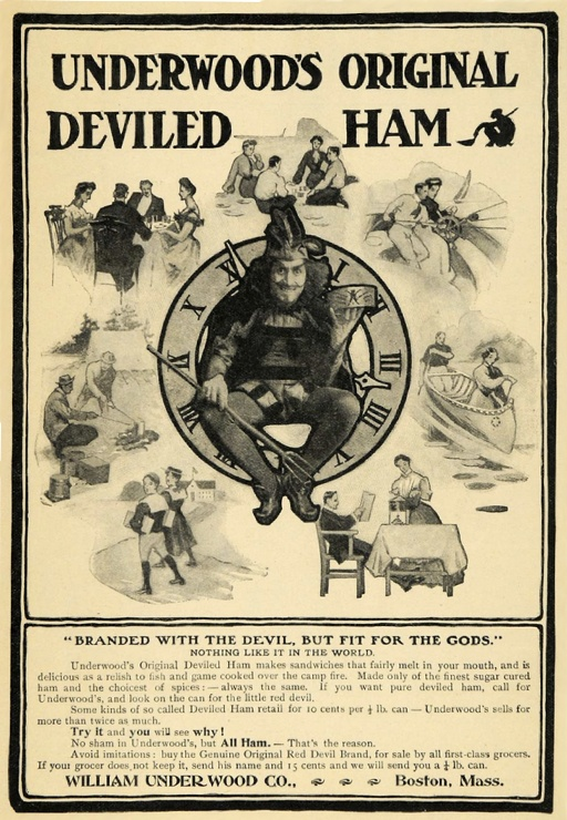 """Underwood Deviled Ham advertisement from 1906. This brand of canned deviled ham provided the basis for """"fast food"""" in this era. Note the serving contexts portrayed in this advertisement."""