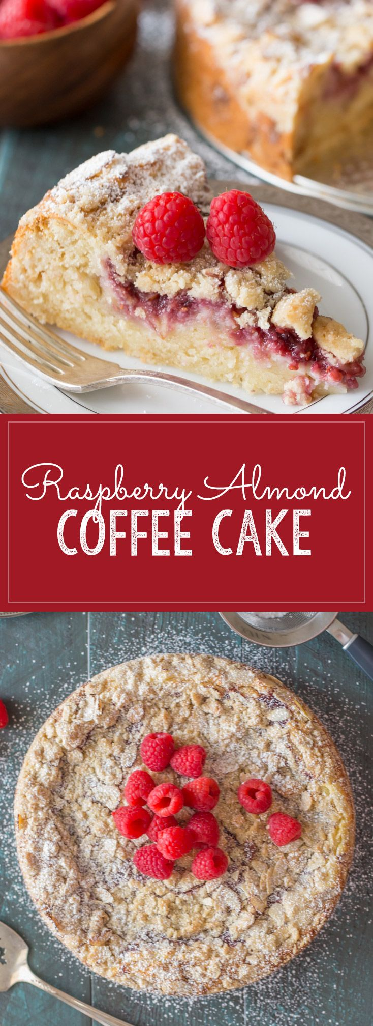Layers of moist almond cake, sweetened cream cheese, raspberry preserves and an almond streusel topping.
