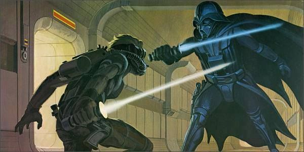 Lucas commissioned Ralph McQuarrie to illustrate some scenes for the script of a film and that film was Star Wars. Not only did he designed the scenes, but the characters as well, like Darth Vader, Chewbacca, R2-D2 and C-3PO, as well as the concepts for the films set. McQuarrie suggested the breathing apparatus for Vader.