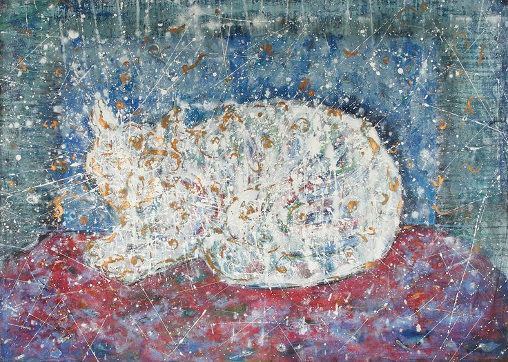 """""""White Cat"""" by Justyna Eberle - ecolina on paper"""