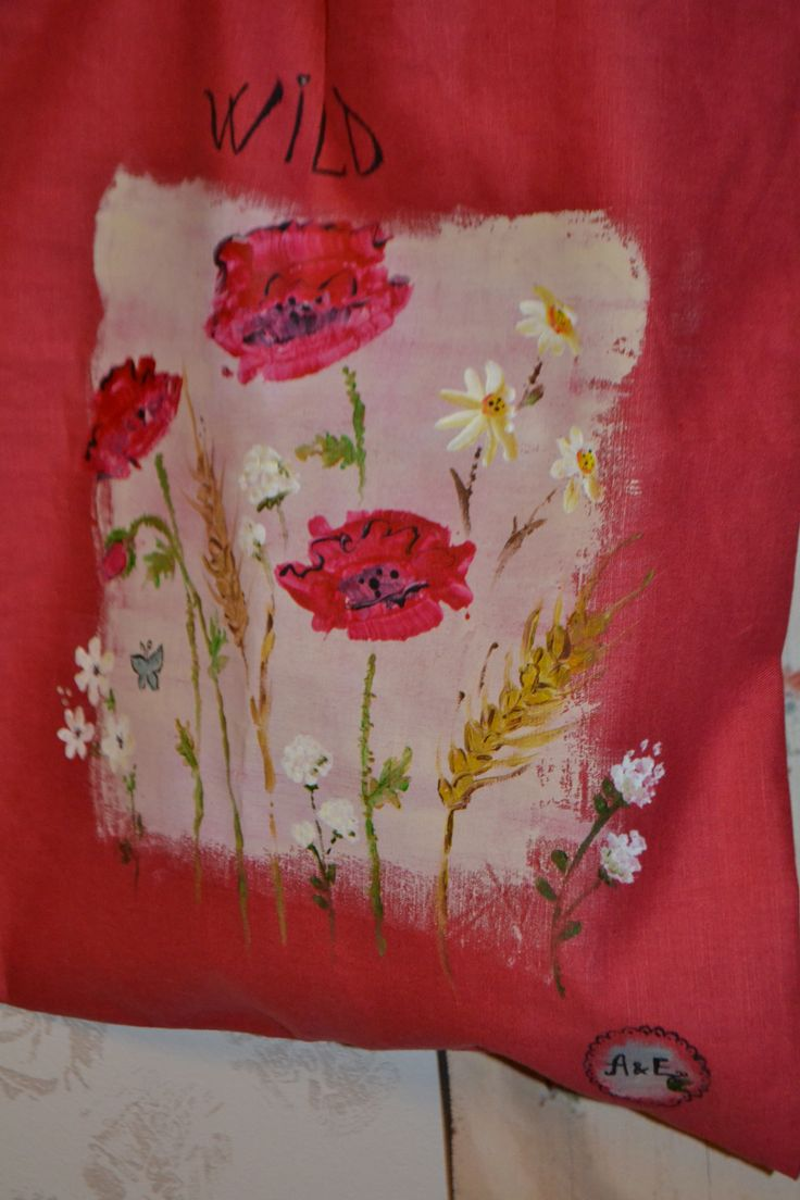 Hand painted textile bag - wild flowers