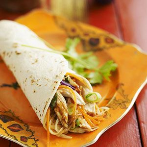 Prepared in less than 30 minutes, this popular Asian recipe wraps chicken and vegetables inside a flour tortilla. A hoisin and soy sauce blend add the flavoring to this recipe.