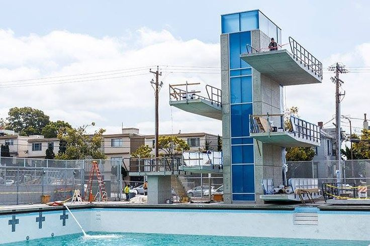 Work wraps up on Berkeley's first-ever diving tower, with five platforms. #UCBerkeley