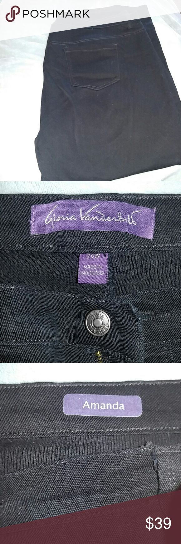 GLORIA VANDERBILT BLACK JEANS Size 24W  has some spandex in them easy to wear and so comfortable. Looks fantastic on. Very slimming. Gloria Vanderbilt Jeans Boyfriend