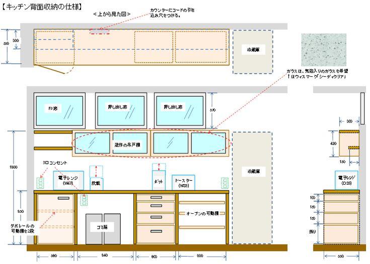 キッチン背面収納は造作に決定 ちょっと曲がった家 収納 造作 キッチン 背面収納 背面収納