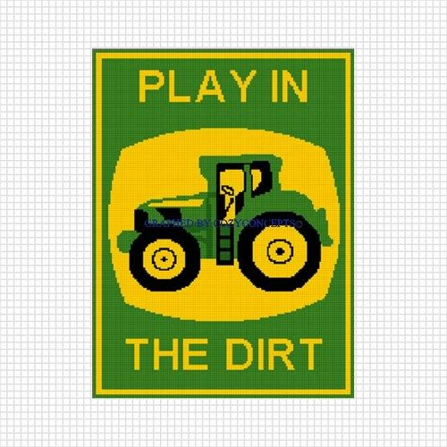 TRACTOR PLAY IN THE DIRT JOHN DEERE AFGHAN CROCHET PATTERN GRAPH EMAIL  cakepins.com