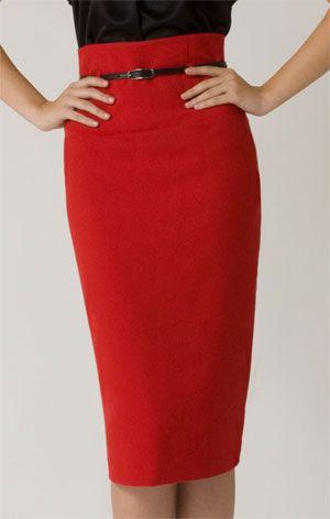 Red High Waist Pencil Skirt