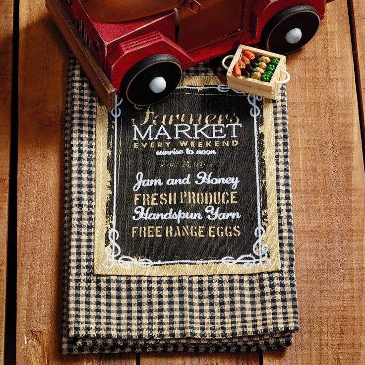 "Farmers Market Dishtowel features a black & tan gingham mini-check pattern. 100% Cotton. Measures 20""W x 28""L. #country #kitchen #dishtowel"