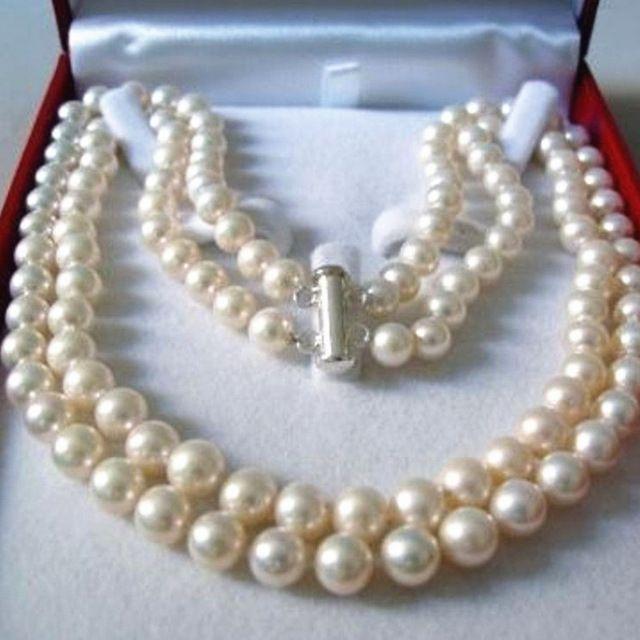Оптовая цена 2 ряда 8-9 мм натуральный белый пресной воды искусственного жемчуга ожерелье 36 дюймов круглые бусины женщины длинные сеть ювелирных YE2091