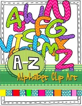 "Use these multi-colored chevron letters to make posters, worksheets, schedule cards, and labels for your classroom. (26 PNG images; Uppercase A-Z)I love ""hassle-free"" clipart, so feel free to use this clipart any way you want for both personal and commercial products."